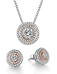 Jewelry Set Rose White Gold CZ Pendant Square Necklace...