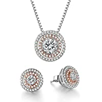 THEHORAE Jewelry Set Rose White Gold CZ Pendant Square Necklace Stud Earrings Sets, Crystals from Swarovski