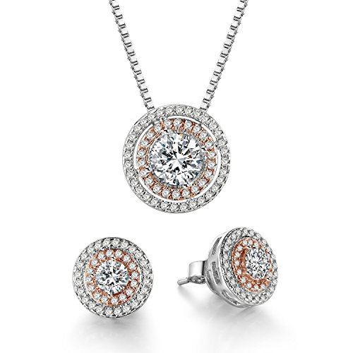 THEHORAE Jewelry Set Rose White Gold CZ Pendant...