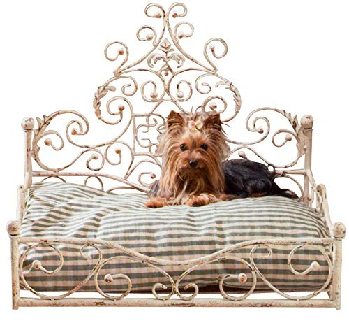 - French Iron WHITE SCROLL Dog Pet Cat Bed Victorian Antique Fleur de Lis European by Intelligent Design