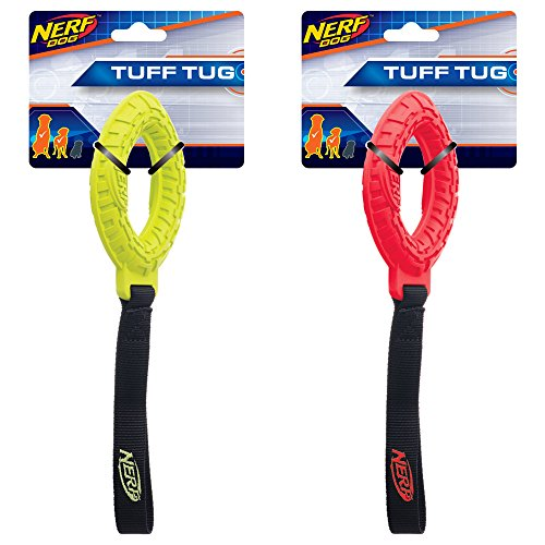 Nerf Dog (2-Pack) Tire Glide Tug Dog Toy, Red/Green, Medium