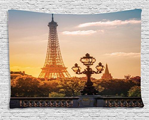 Ambesonne Wanderlust Decor Collection, Street Lantern On The Alexandre Iii Bridge Against The Eiffel Tower In Paris, France, Bedroom Living Room Dorm Wall Hanging Tapestry, 80W X 60L Inch - Alexandre Iii Bridge