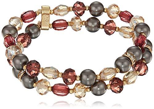 (Napier Women's Multi-Colored Two Row Beaded Stretch Bracelet)