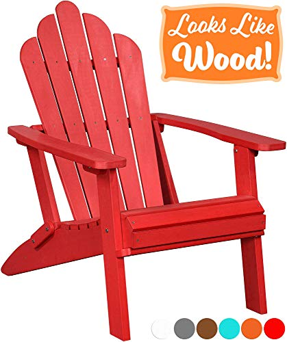 PolyTEAK Seashell Oversized Folding Adirondack Chair, Cardinal Red