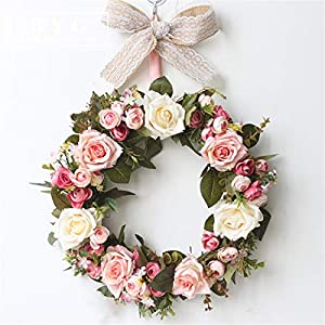 Liveinu Handmade Floral Artificial Simulation Peony Flowers Garland Wreath Wedding Table Centerpieces for Home Party Decor 14″ Rose Red Door Wreath with Bow