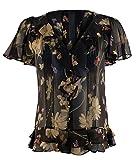 Polo Ralph Lauren Womens Short Sleeve Ruffled Floral Silk Blouse