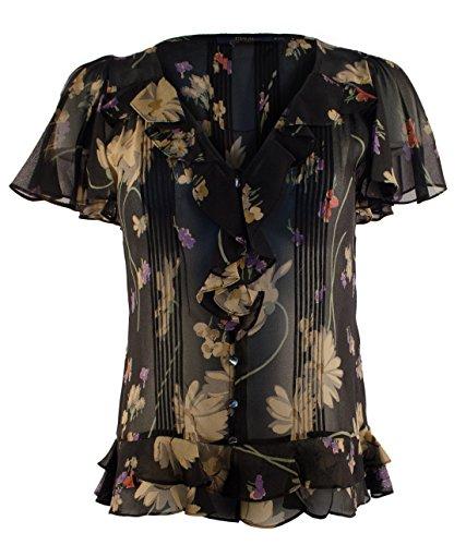 (Polo Ralph Lauren Women's Short Sleeve Ruffled Floral Silk Blouse-F-8)