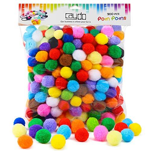 Caydo 300 Pieces 1 Inch Assorted Pompoms Multicolor Arts and Crafts Pom Poms Balls for Christmas DIY Art Creative Crafts Decorations