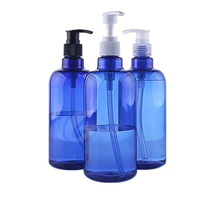 3PCS 17OZ Botella plástico azul bomba prensa Potes del frasco Envase Contenedor de almacenamiento Contenedor Dispensador