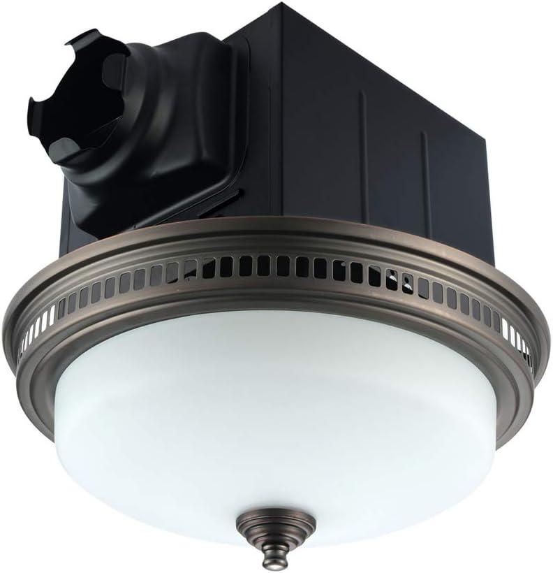 Ultra Quiet Bathroom Exhaust Fan with Light 110CFM 1.5 Sone Ventilation Fan (3x13W GU24 Base CFL Blubs and 1pcs E12 Nightlight Included) 3 Years Warranty by Akicon