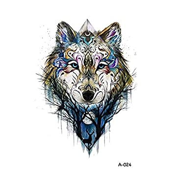 34915d4d69003 Amazon.com : WYUEN 5 PCS New Design Wolf Body Temporary Tattoo Men Fake  Tattoo Sticker Women Body Art 9.8X6cm (FA-024) : Beauty