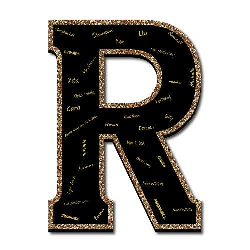 """Big Dot of Happiness Signature Letter R - Guest Book Sign Letter - 21"""" Foam Board Party Guestbook Alternative   Black with Gold Monogram Letter - -"""
