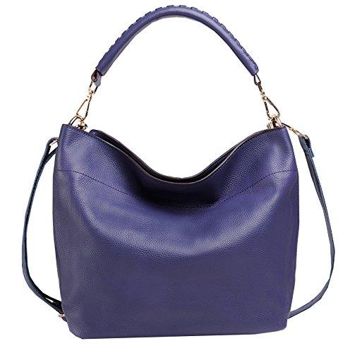Heshe Lady's Genuine Leather New Simple Style Vintage Tote Top Handle Crossbody Shoulder Bag Satchel Purse Women's Handbag (blue1) H053-be-1