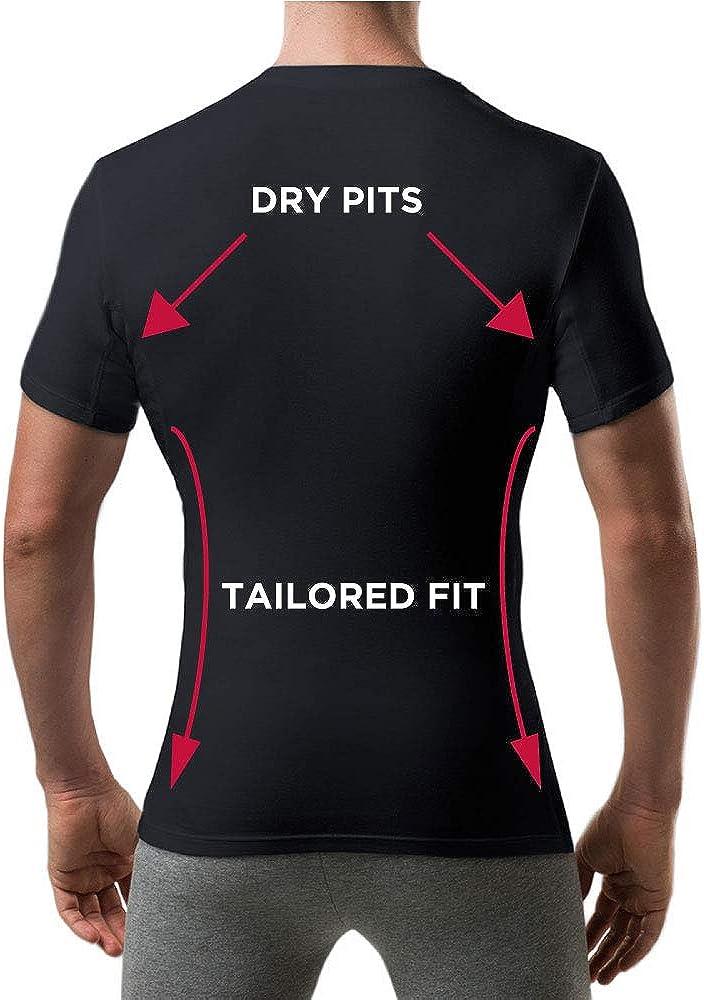 Slim Fit, Crew Neck T Thompson Tee Sweatproof Undershirt for Men with Underarm Sweat Pads