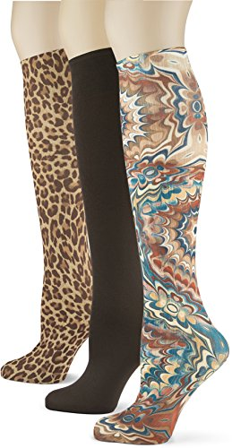 Knee High Trouser Socks w/Colorful Printed Patterns - Made in USA by Sox Trot (3 Hot Cocoa)