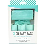 Oh Baby Bags Diaper Bag Clip-On Dispenser Gift Box with Disposable Bags for Dirty Diapers - Recycled Plastic - Seafoam Duffle plus 48 Seafom Scented Bags