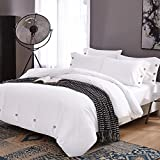 Duvet Cover Set Queen, 3 piece - 800-Thread-Count Hotel Luxury Hypoallergenic Microfiber Down Comforter Quilt Bedding Cover with Deco Buttons, Zipper, Ties - Best Modern Style for Men and Women, White