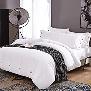 Nanko Duvet Cover Set Queen, 3 piece - 1200 TC Hotel Luxury Hypoallergenic Microfiber Down Comforter Quilt Bedding Cover with Deco Buttons, Zipper, Ties - Best Modern Style for Men and Women, White