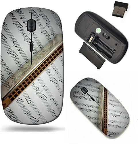 (Liili Wireless Mouse Travel 2.4G Wireless Mice with USB Receiver, Click with 1000 DPI for notebook, pc, laptop, computer, mac book A harmonica on music sheets background Photo 7080999)
