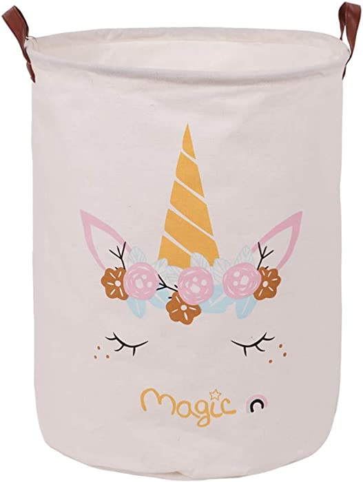 "LINENLUX Clothes and Toys Organizer Waterproof Hamper Foldable Laundry Basket for Storage(Unicorn Print, 15.7"" x 19.7"")"