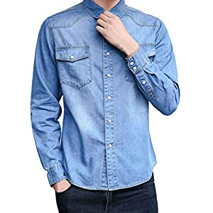 Men Shirts Denim Fashion Long Sleeve Pure Color Spring Design Casual Slim Fit Button Tops  T-Shirt