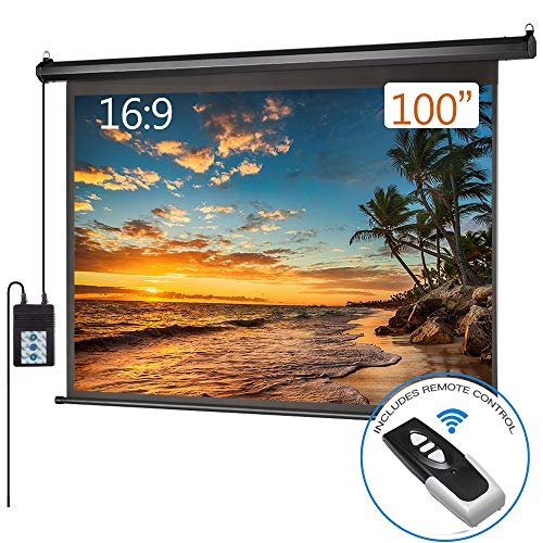 Motorized Projector Screen 100 inch 16:9 HD Diagonal Indoor and Outdoor Electric Move Screen with Remote Control for Family Home Office Theater