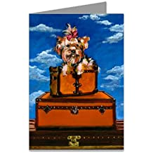 Yorkshire Terrier on Vintage Haute Couture Inspired Luggage Greeting Card Set
