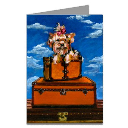 Yorkshire Terrier on Vintage Haute Couture Inspired Luggage Greeting Card (Vintage Haute Couture)