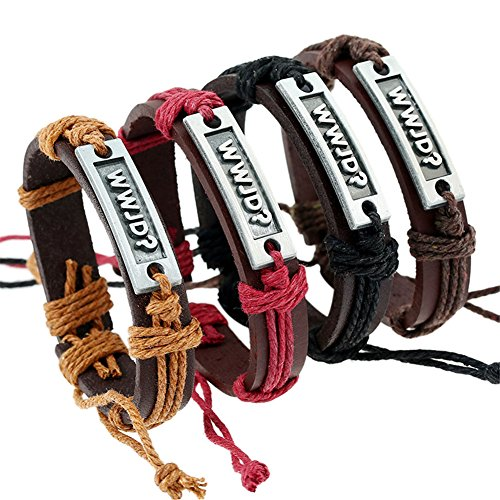 Sunling 4 Pack Adjustable WWJD Cowhide Leather Bracelet