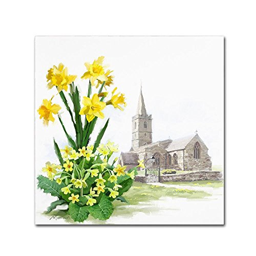 Daffodils And Church by The Macneil Studio, Canvas