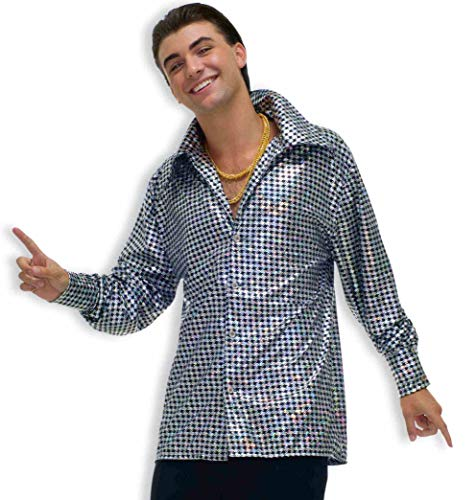 Forum Novelties Men's 70's Disco Fever Hustling Hunk Costume Shirt, Black//White, Standard]()