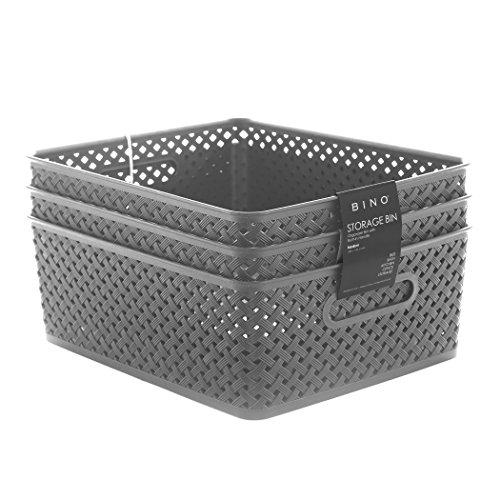 BINO Woven Plastic Storage Basket (PACK OF 3- M, Grey)