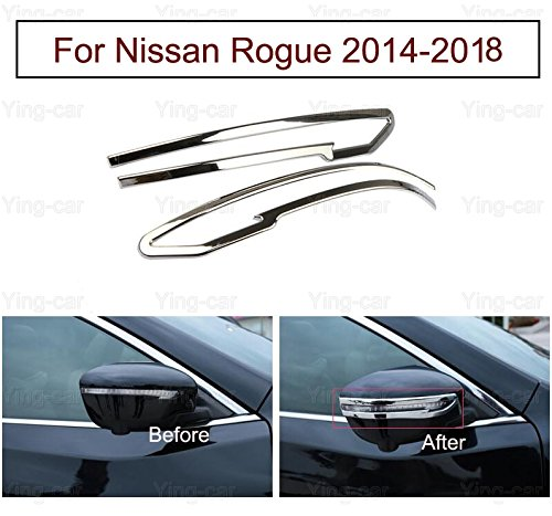 2pcs Chrome Rearview Side Mirror Cover Trim Strip Emblems for Nissan Rogue 2014 2015 2016 2017 2018