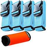 Hibate (4_Blue) Luggage Straps Belts and (1_Orange) Neoprene Suitcase Handle Wrap Grip Tags