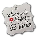 Summer-Ray 100pcs White Elegant Square Hug & Kisses from the New Mr & Mrs Favor Tags Wedding Bridal Shower Anniversary