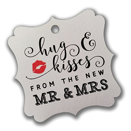 Summer-Ray 100pcs White Elegant Square Hug & Kisses from the New Mr & Mrs Favor Tags Wedding Bridal Shower Anniversary by Summer-Ray.com