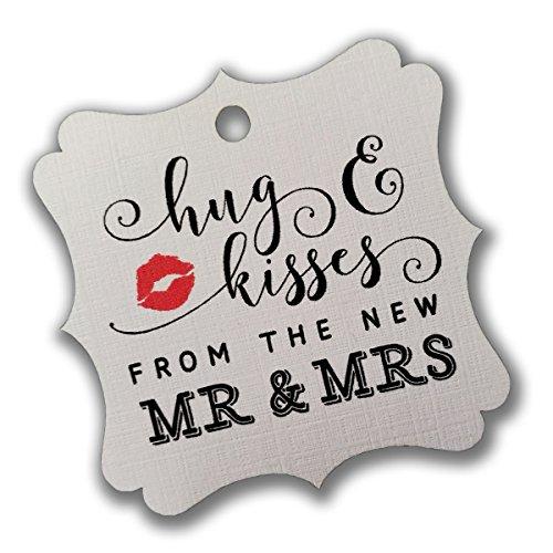 Summer-Ray 100pcs White Elegant Square Hug & Kisses from the New Mr & Mrs Favor Tags Wedding Bridal Shower (Summer Wedding Favors)