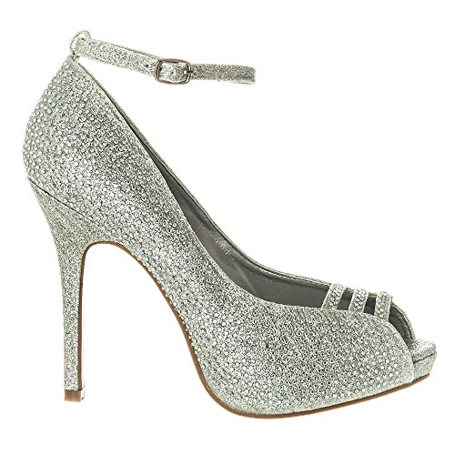 High Heel Diamante Open Toe Ankle Strap Shoe Silver 59wFaDWvoB