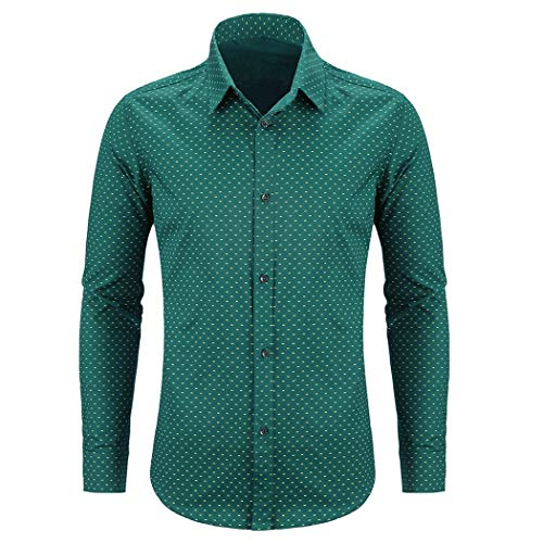 WULFUL Men's Casual Long Sleeve Dress Shirt Print Cotton Business Button Down Shirts Regular Fit ()
