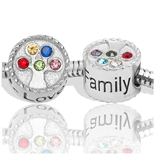 Birthstone Charms for European Charm Bracelets Stainless Steel Family Tree
