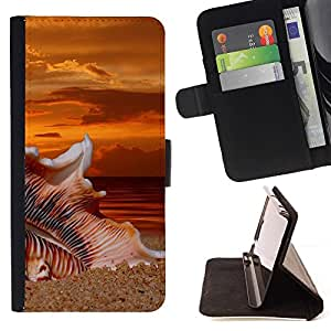 Momo Phone Case / Flip Funda de Cuero Case Cover - Beach Sunset Sand;;;;;;;; - Sony Xperia Z5 5.2 Inch (Not for Z5 Premium 5.5 Inch)