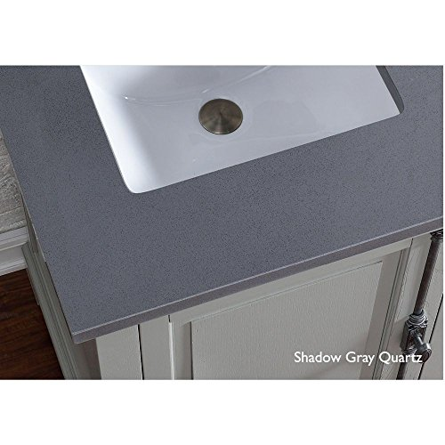 James Martin Furniture 050-S26-SHG-SNK 26'' Single Quartz Top with Sink, Shadow Gray Finish by James Martin Furniture