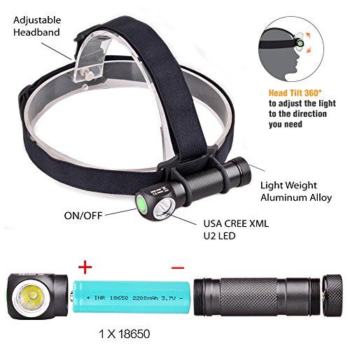 Micotools 1000lumens CREE XM-L2U2LED rechargeable Camping Lampe frontale Phare Mini lampe torche pour d'urgence avec une batterie 18650, un chargeur de batterie