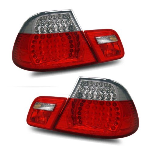 SPPC 2 Door L.E.D Taillights Set Red/Clear 4 pieces Assembly Set BMW 3 Series E46 - (Pair) Driver Left Passenger Right Side Replacement