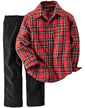 Carter's Baby Boys 2 Piece Playwear Sets, Red Plaid/Corduroy, 18M