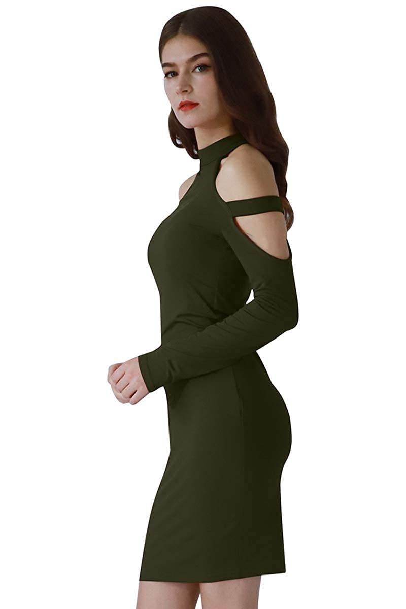 00bb8782e545 YMING Womens Long Sleeve Sexy Cold Shoulder Bodycon Bandage Club Dresses:  Amazon.ca: Clothing & Accessories
