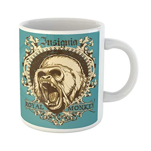 Semtomn Funny Coffee Mug Gorilla Royal Monkey Angry King Animal Face Ape Scary 11 Oz Ceramic Coffee Mugs Tea Cup Best Gift Or -