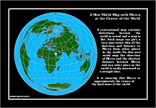 Mecca-centered World Map Postcards 4x6 inches. 25-pack: Len Guelke ...