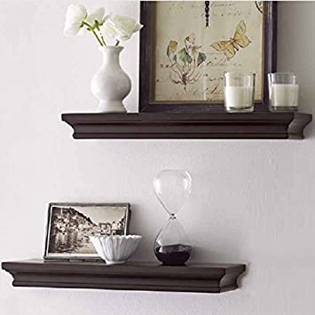 LightStan Wood Floating Wall Shelf Espresso Brown Tray Decorative Ledge Set  Of 2pcs