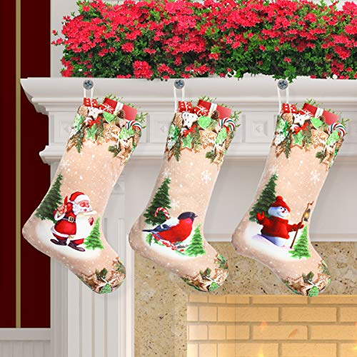 Libay 3 Pack Christmas Stockings, 18 Xmas Stockings Set with Santa Snowman Bird Christmas Stocking Decorations for Xmas Party Fireplace Decor, Christmas Eve Hanging and Tree Ornament